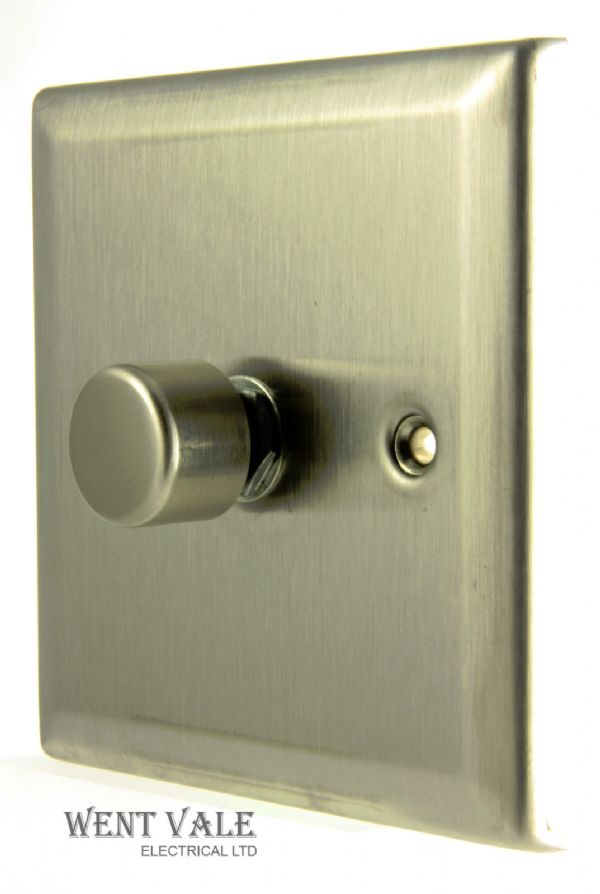 GET Decor Range - 775706 - 1 Gang 2 Way Brushed Steel Rotary 60-250w Dimmer Switch New